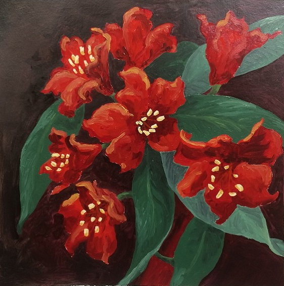 Rhodies - oil on paper - 14 x 14 inches (Feb 2018)