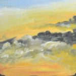 Sunrise Sky January 3, 2019, 5x5 in., oil on paper