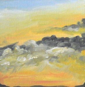 Sunrise Sky January 3, 2019, 5x5 in., oil on paper