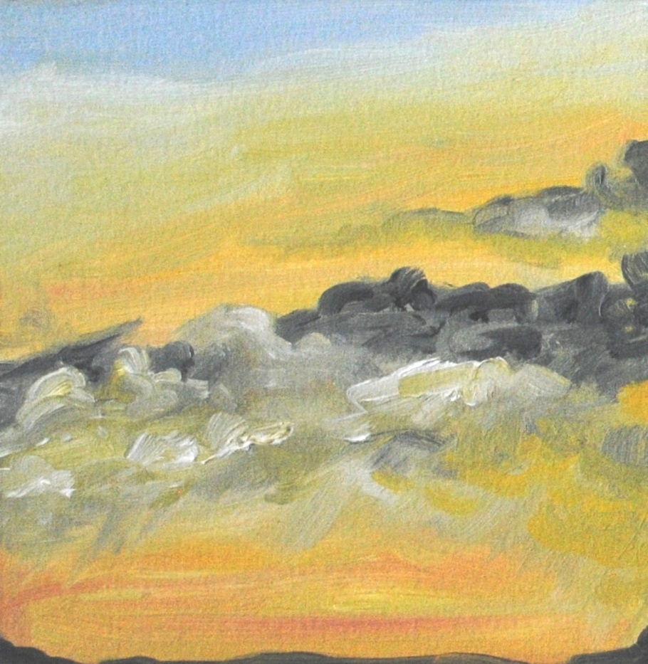 Sunrise Sky January 3, 2019, 5x5 in., oil on