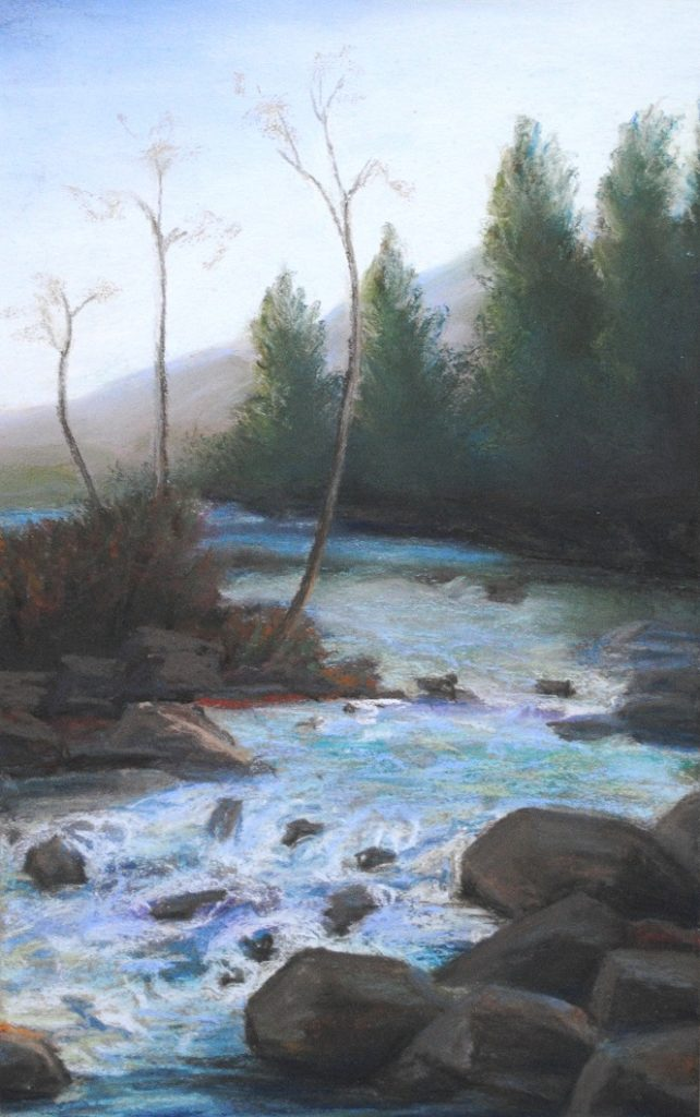 Singing waters, pastel, 13x8 inches (April 2019)