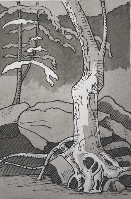 Deep Roots, ink on paper, 8x6 in, 2019
