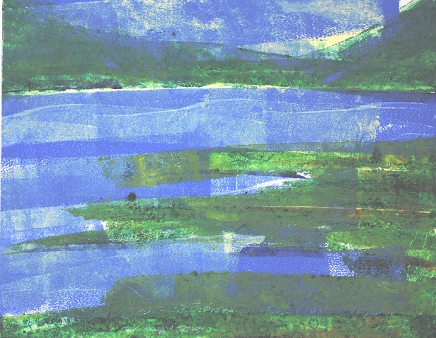 Echo Lake Blues, 10x8 in.,  monotype, 2019