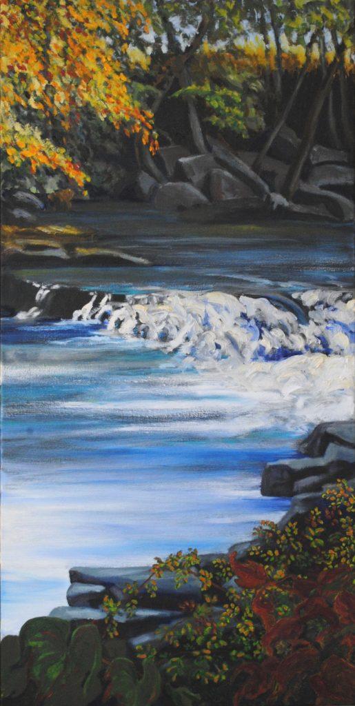 Powdermilk Falls, 30x15 in., oil on canvas, 2019