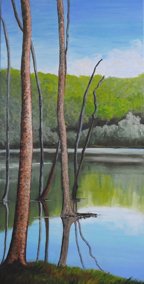 Echo Lake, oil on canvas, 30x15 inches, 2019