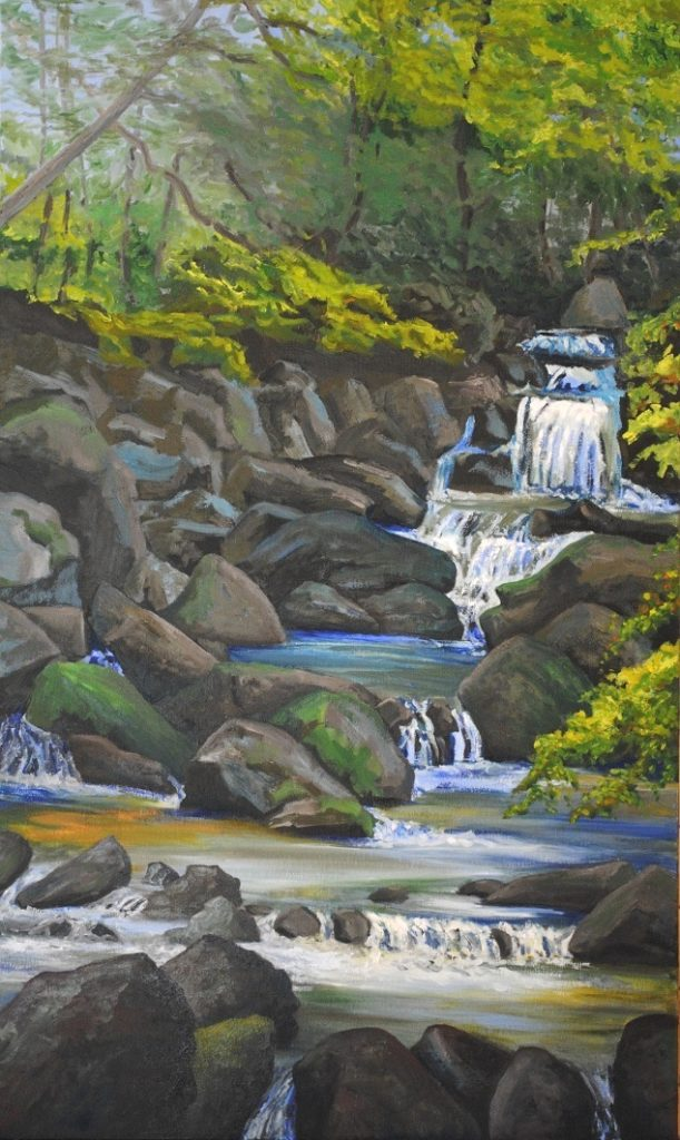 Sawkill in the Wilderness: Hidden Falls. Oil on canvas, 39.5x23.75 inches, 2019