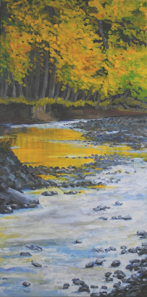 Bearsville Gold, oil on canvas, 30x15 in, 2019
