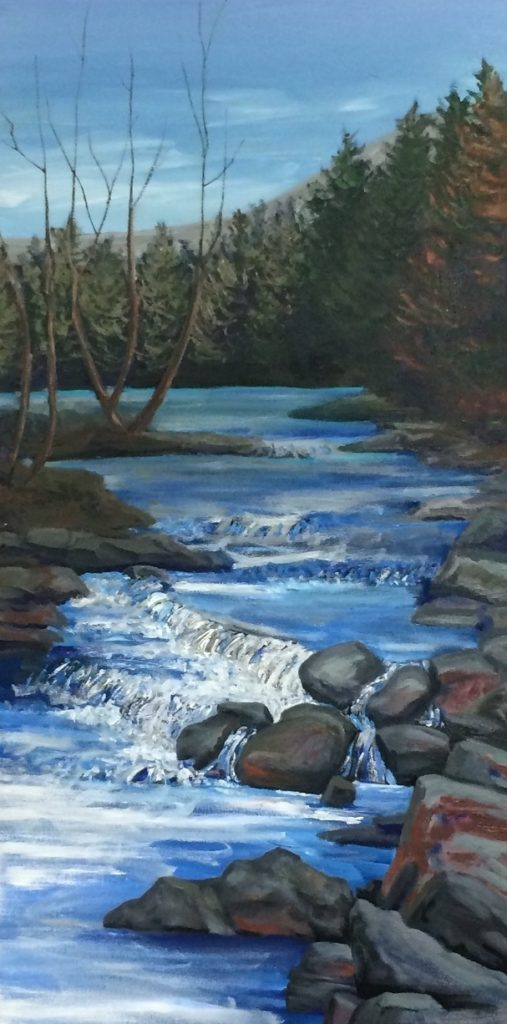 Blue Release: Sawkill at Shady 30x15 inches oil on canvas 2019