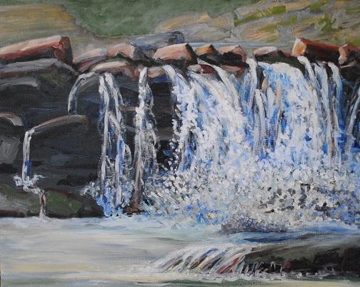Sawmill Falls at Zena, oil on linen, 16x20 in, 2019